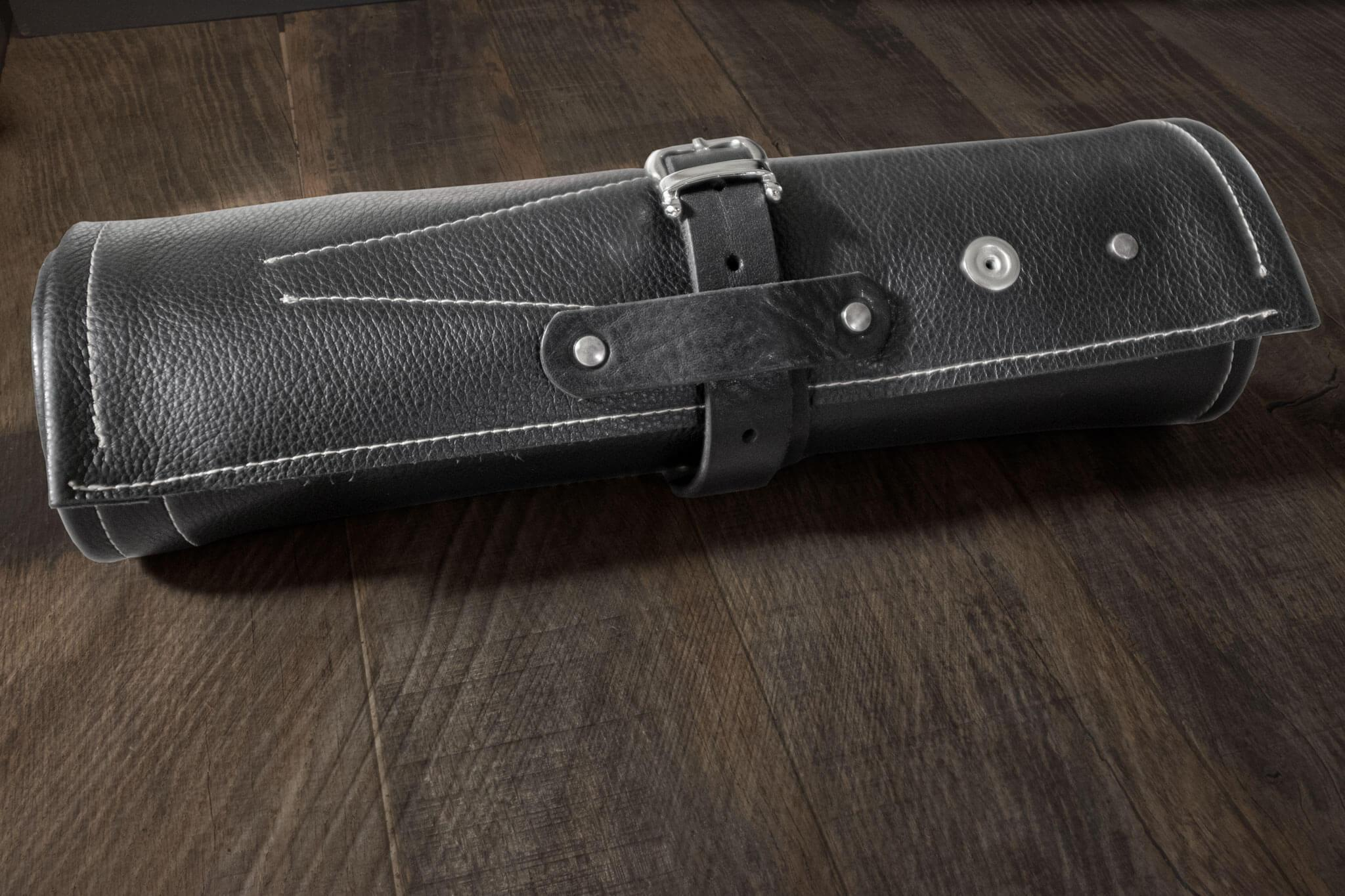 rolled up Barber tool roll  | Duke & Sons Leather