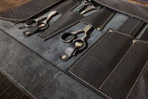 Barber- Hairdresser leather tool roll, in black leather (with name tag) - Duke & Sons Leather
