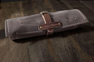 Barber- Hairdresser leather tool roll, in brown leather (with name tag) - Duke & Sons Leather