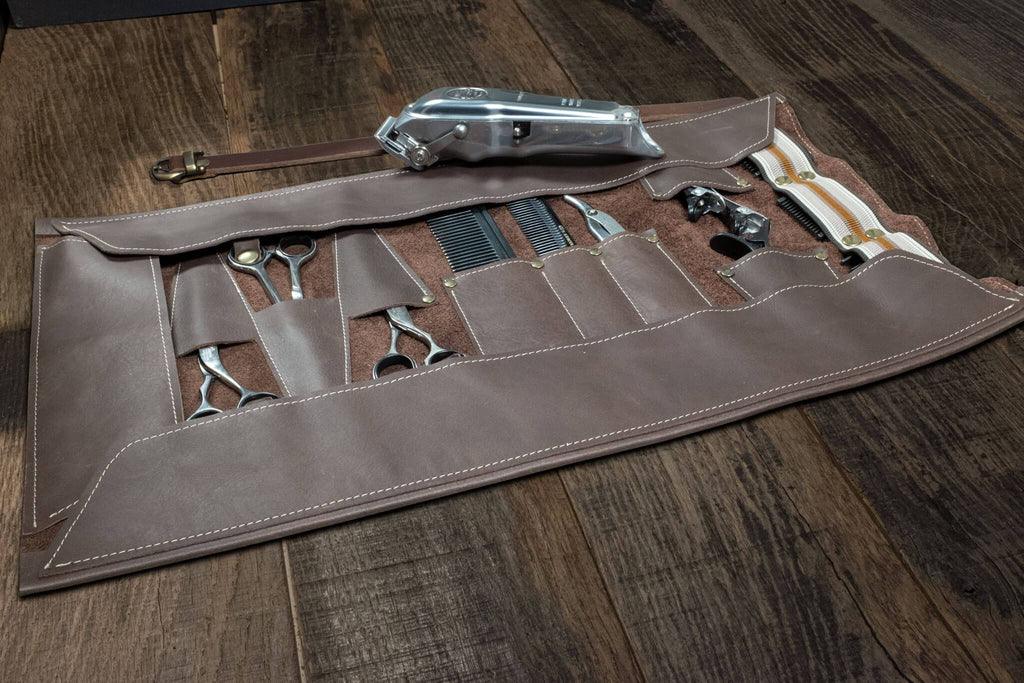 Barber- Hairdresser leather tool roll. in brown leather | Duke & Sons Leather