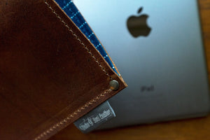 iPad Air / Mini sleeve, pull up leather with fabric lining, brown color - Duke & Sons Leather
