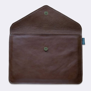 MacBook envelope sleeve, leather with padded lining, brown color - Duke & Sons Leather