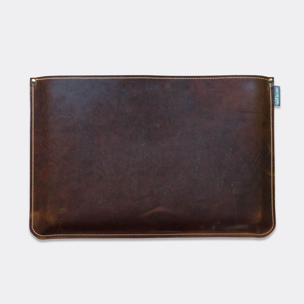 MacBook sleeve, pull up leather with fabric lining, brown color - Duke & Sons Leather