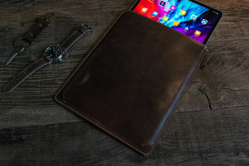iPad Pro sleeve, pull up leather with fabric lining, brown color - Duke & Sons Leather