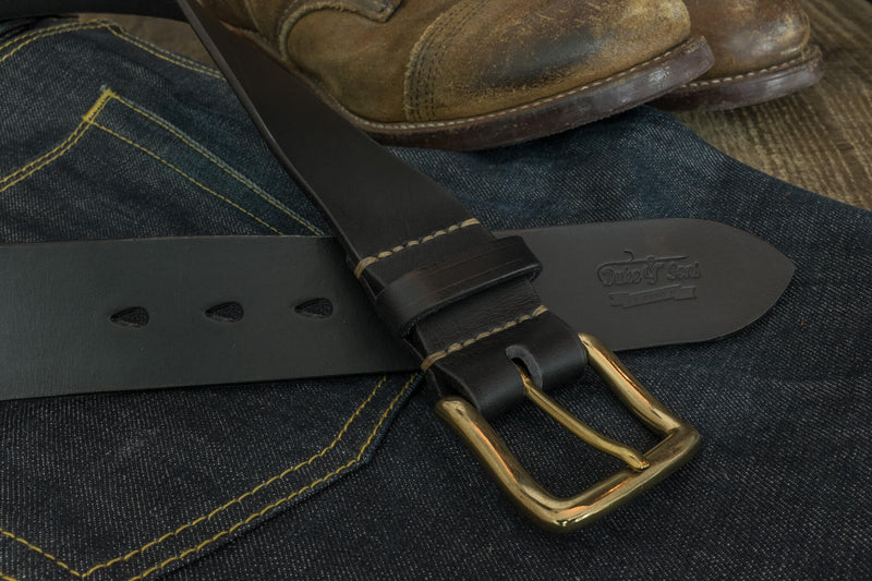 "Belt, black color, vegetan leather, hand stitched. solid brass buckle, 40mm (1.57"") - Duke & Sons Leather"
