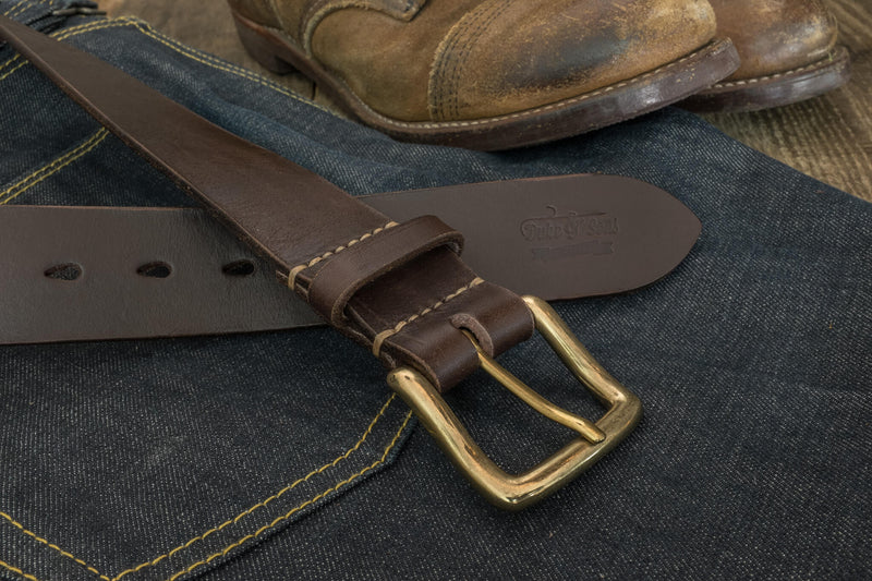 "Belt, dark brown color, vegetan leather, hand stitched. solid brass buckle, 40mm (1.57"") - Duke & Sons Leather"