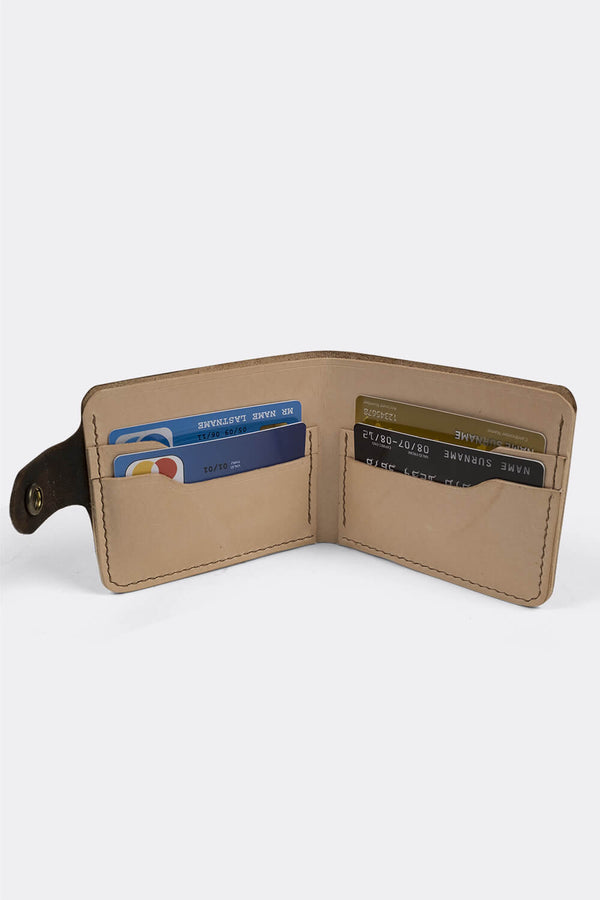 Wallet, bifold , Vegtan leather, hand embossed and inked - Duke & Sons Leather