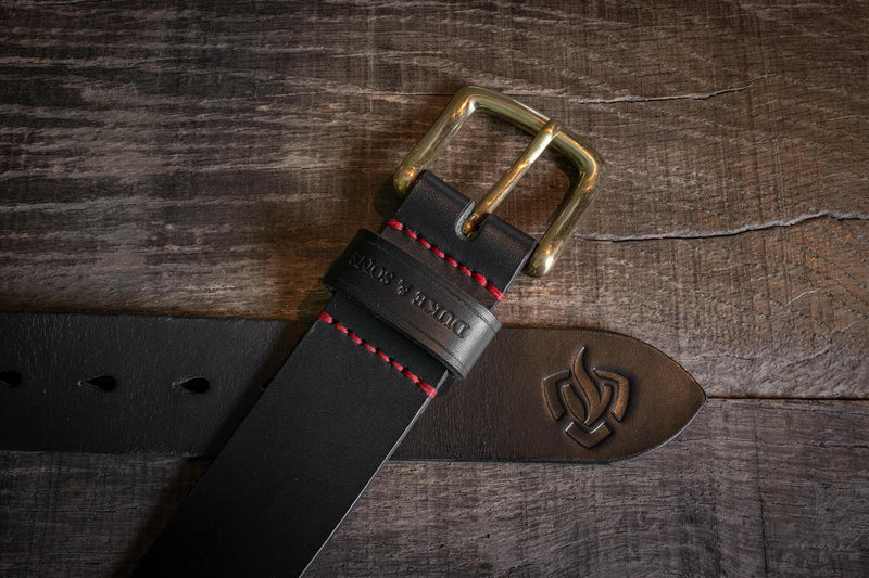 Brandweer riem, zwart tuigleer - Duke & Sons Leather