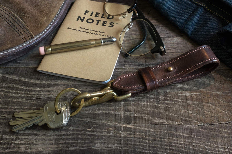 Keystrap, leather with heavy duty solid brass clip - Duke & Sons Leather