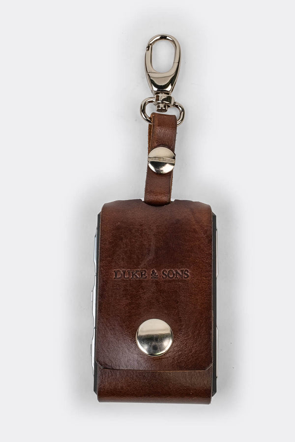 Leather Polestar key sleeve (clasp) brown | Duke & Sons Leather