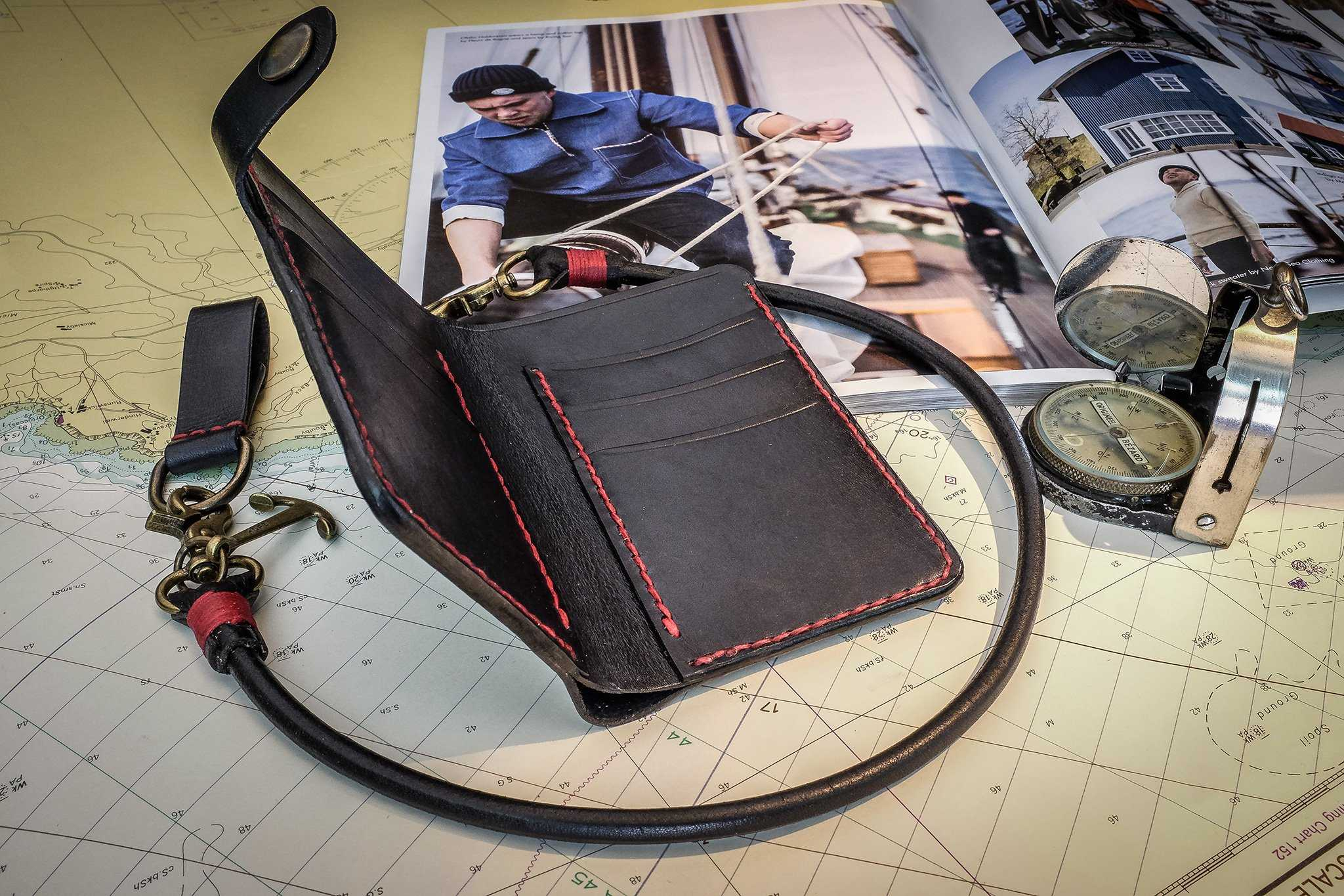 Wallet, with custom made leatherwork and bronze chain.