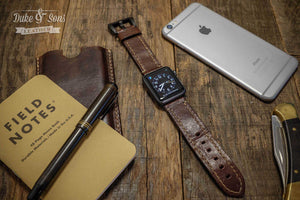 Apple watch strap, full grain A-grade Italian Bulls leather, hand stitched. - Duke & Sons Leather