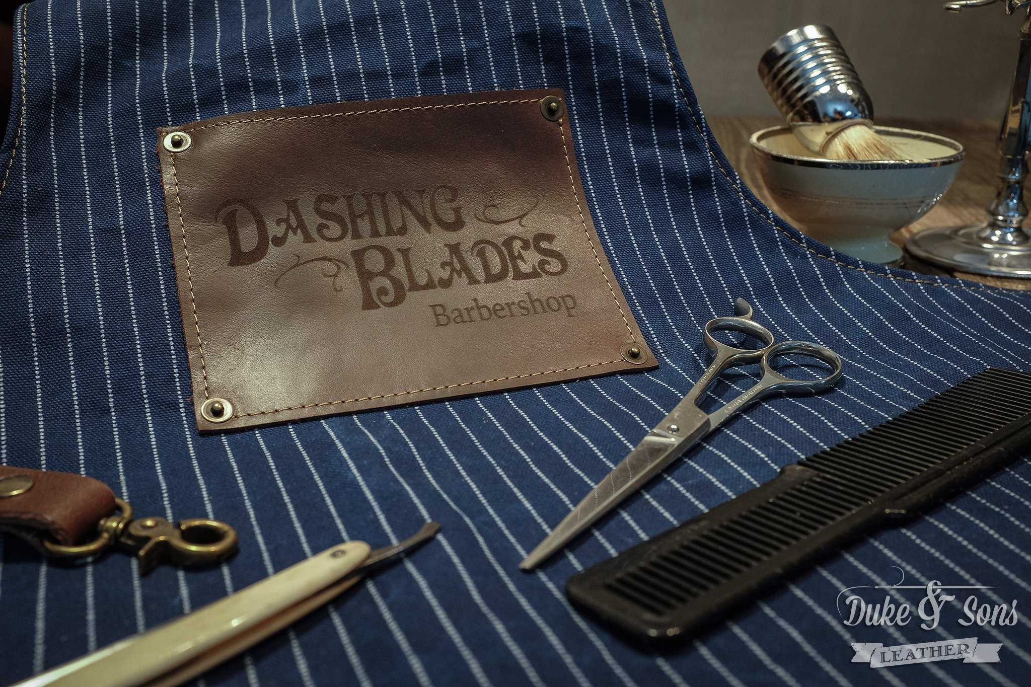 Barber apron, laser engraved logo as option | Duke & Sons Leather