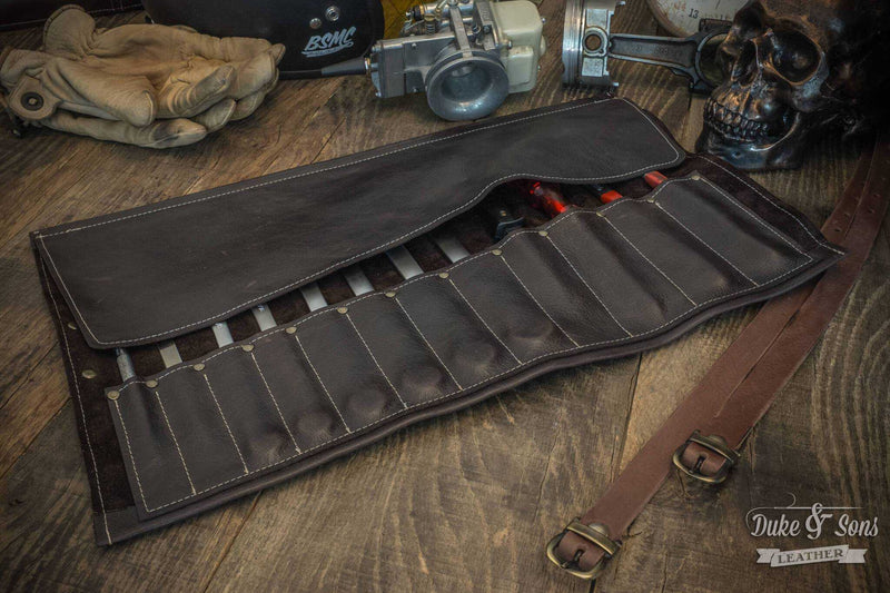 Tool Roll, brown leather, with 2 leather straps. - Duke & Sons Leather