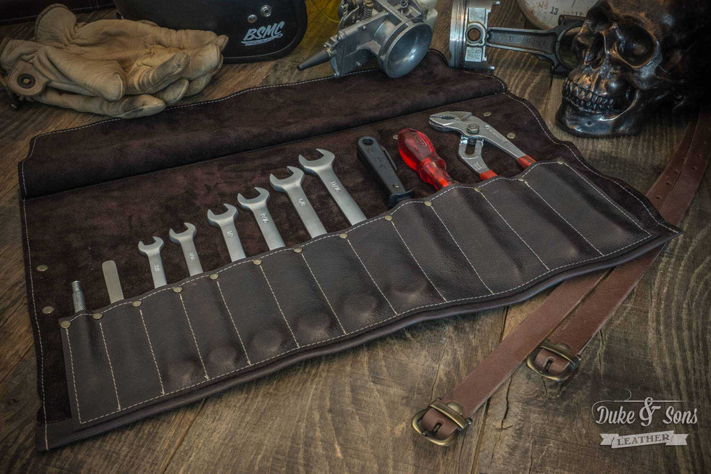 The Duke & Sons leather Tool roll. store your tools properly