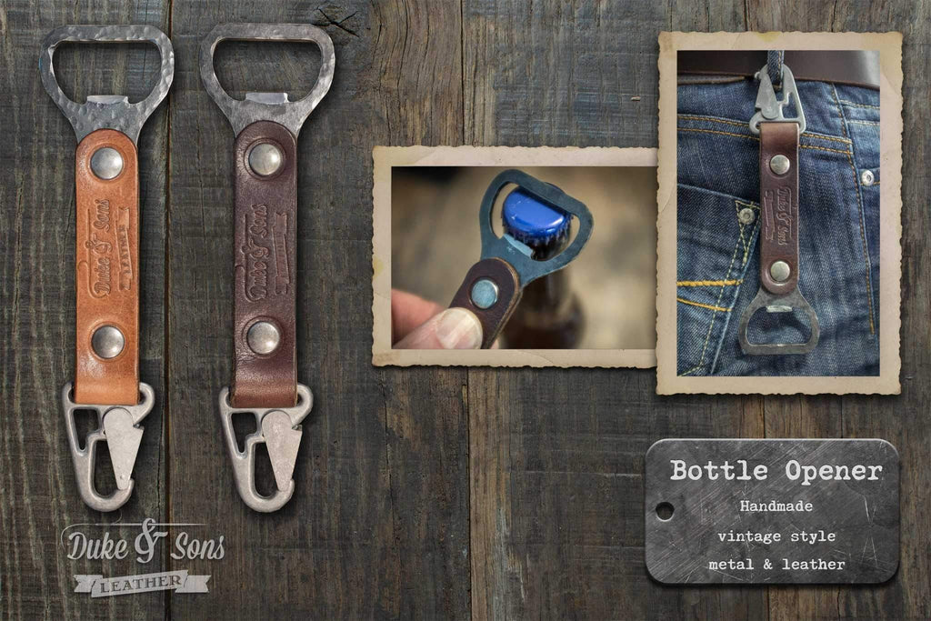 Bottle opener, vintage style, handmade, metal with leather grip | Duke & Sons Leather