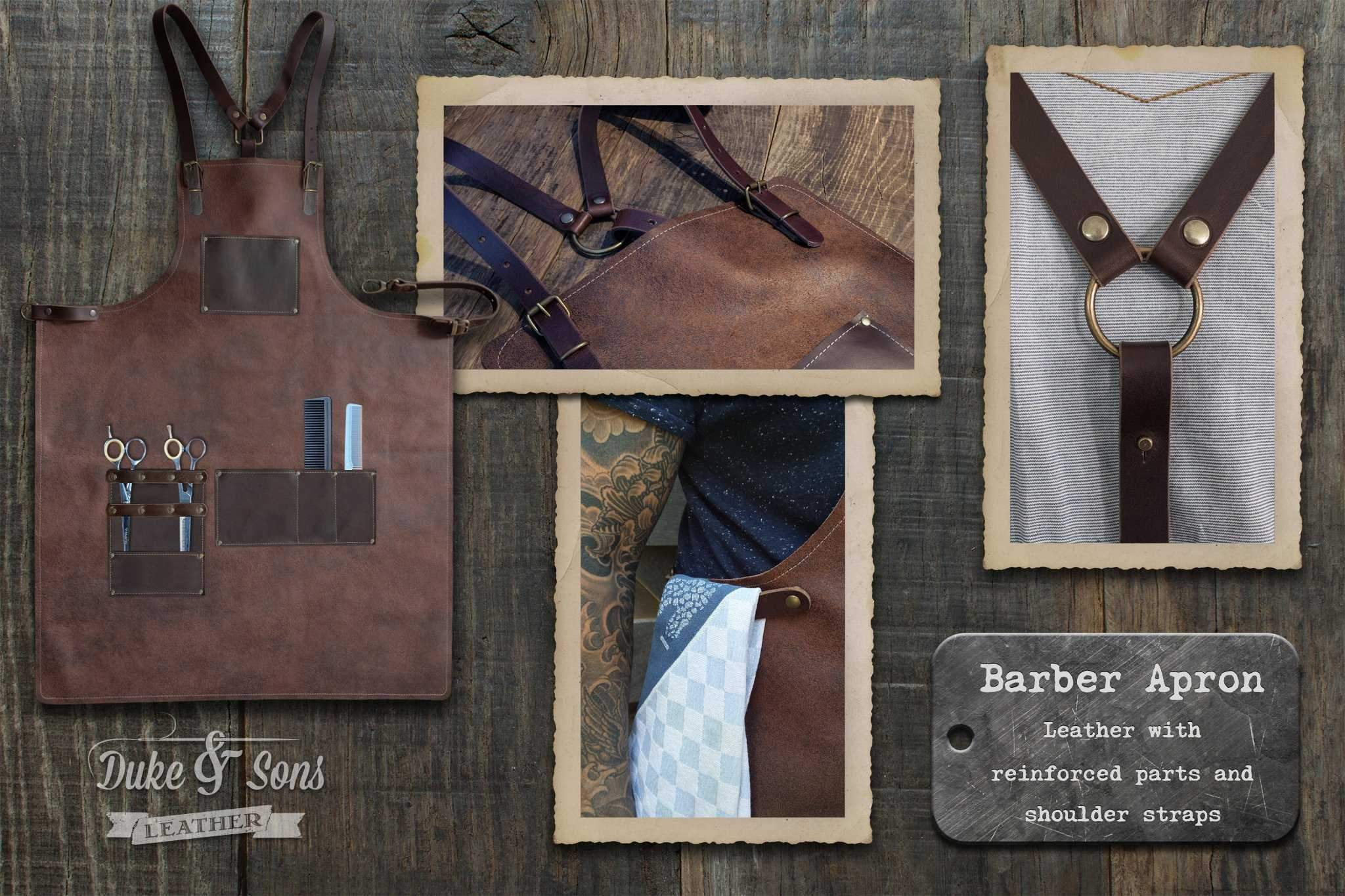 Barber apron, brown leather with pockets for shears and combs. | Duke & Sons Leather