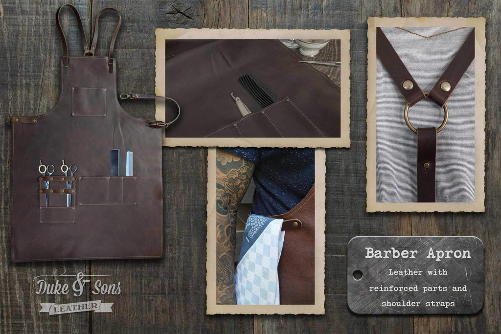 Barber apron, A-grade dark brown leather with pockets for shears and combs.