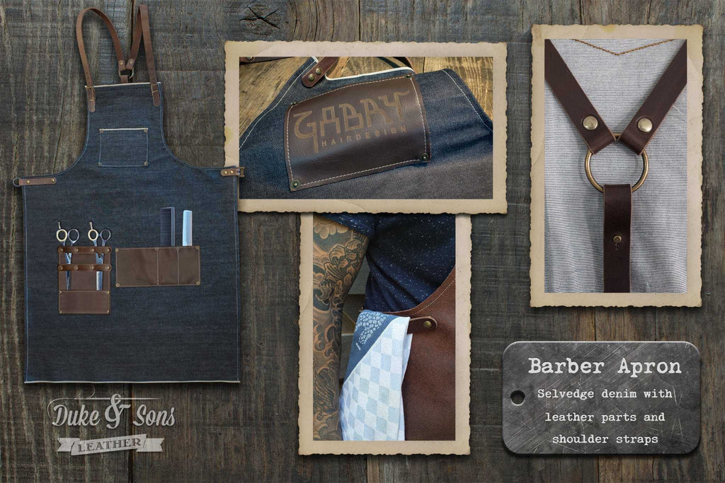 Barber apron, selvedge denim with leather parts. | Duke & Sons Leather