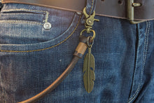 Keychain (Brown) 50 cm, with old bronze feather* - Duke & Sons Leather