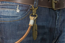 Keychain (Natural) 50 cm, with old bronze feather* - Duke & Sons Leather