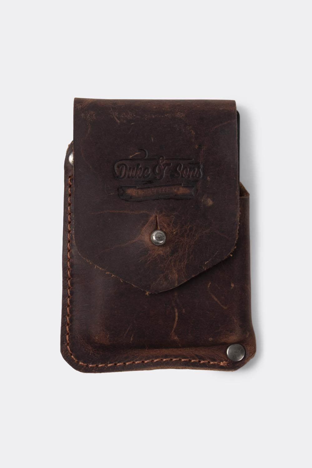 Card wallet, distressed brown leather | 10 cards - Duke & Sons Leather