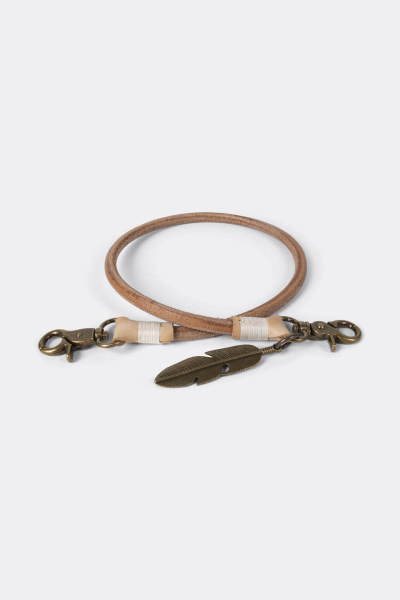 50 CM Keychain with old bronze feather* natural leather