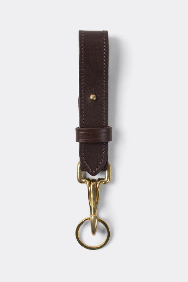 Keystrap, leather with heavy duty solid brass clip