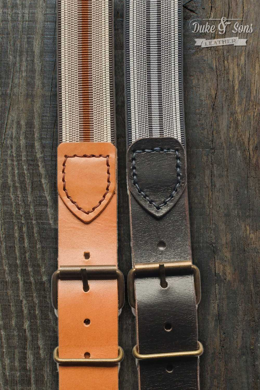 Classic worker braces, with vintage stripe elastic.