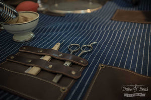 Barber apron, (Japanese wabash cotton) for the professional barber and hairdresser - Duke & Sons Leather