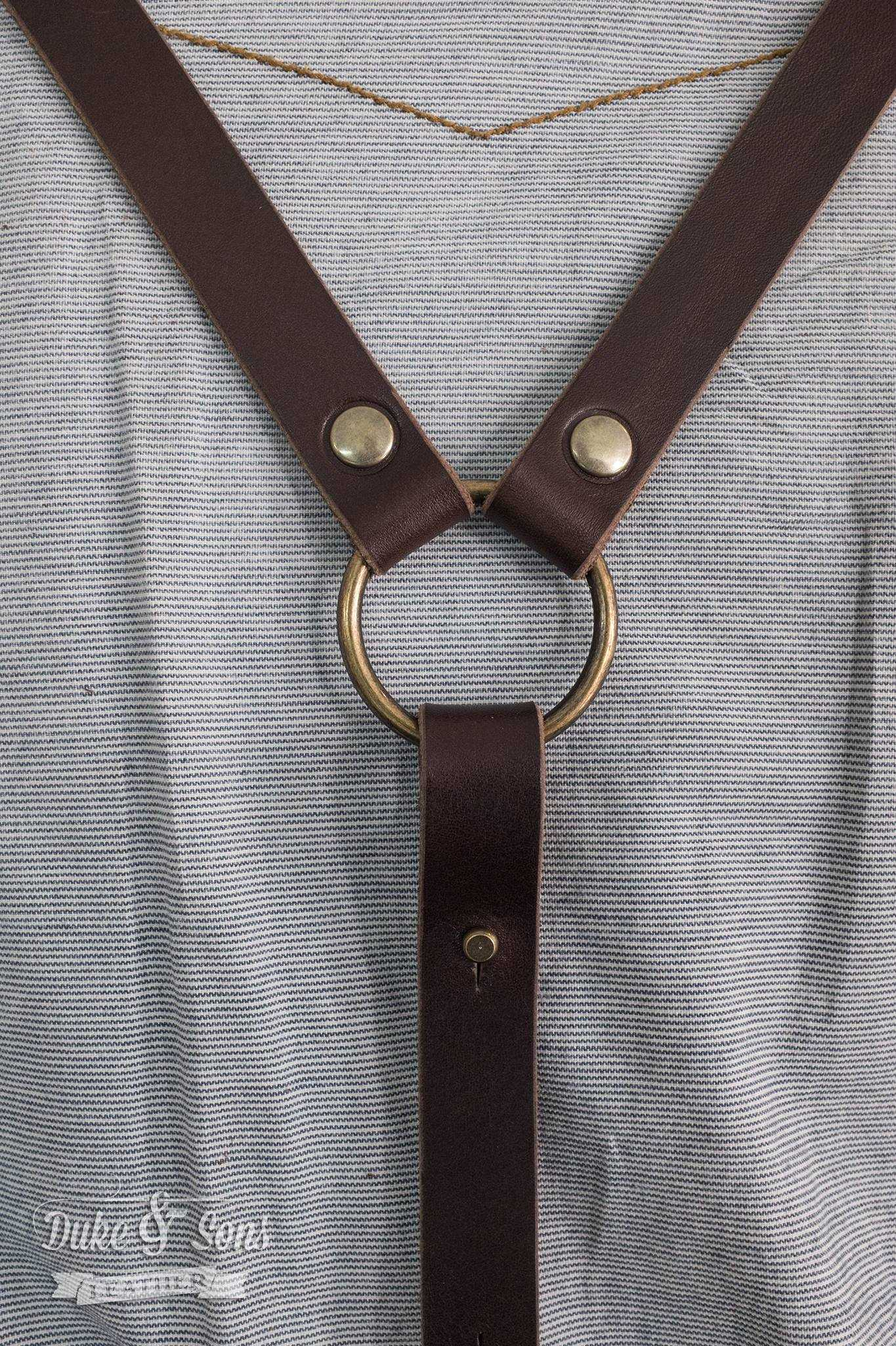 Back strap. Barber Apron ,Japanese Wabash with dark brown leather parts, handmade, with pockets for shears and combs. Very comfortable to wear all day