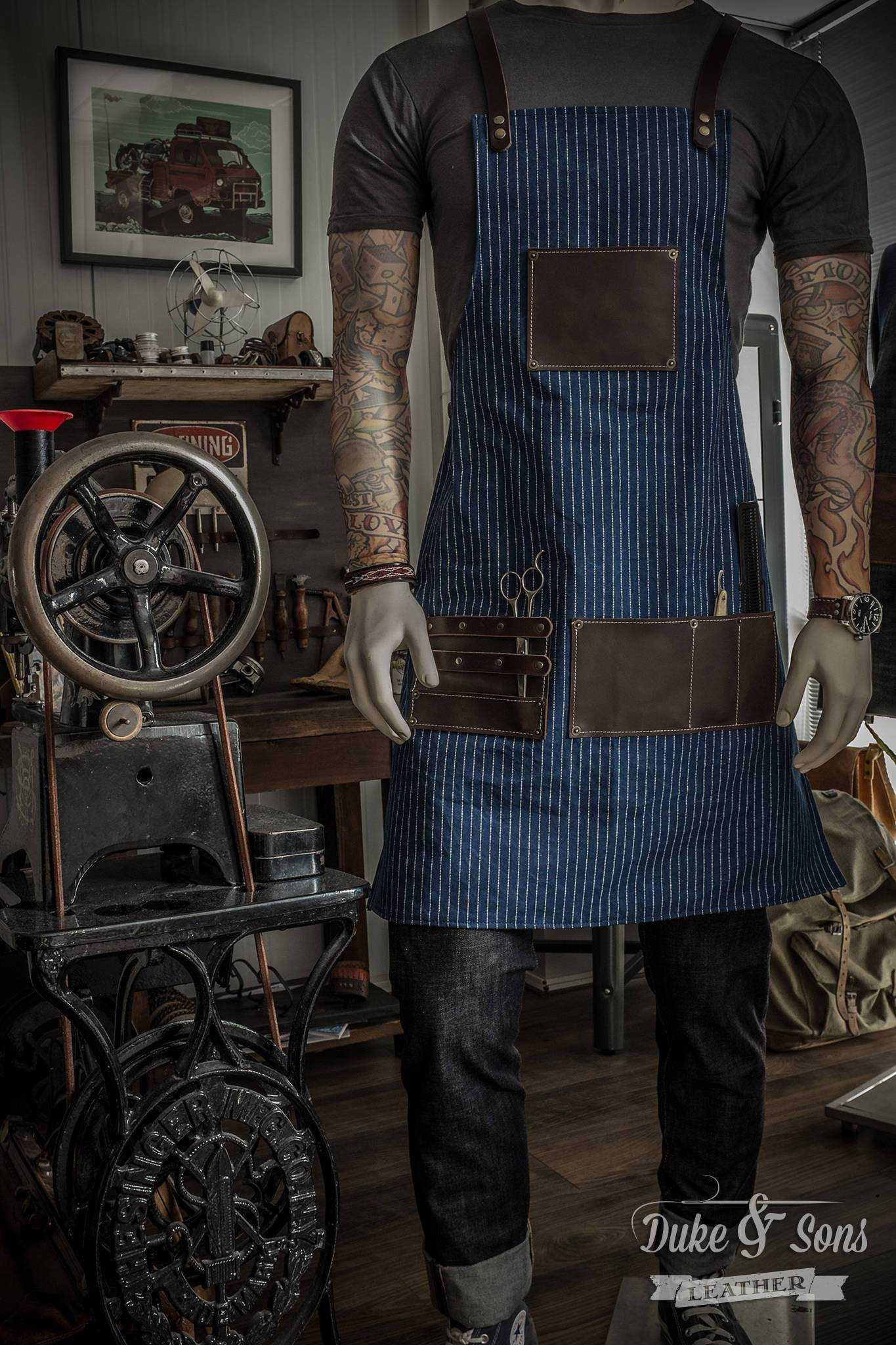 Barber Apron ,Japanese Wabash with dark brown leather parts, handmade, with pockets for shears and combs. Very comfortable to wear all day