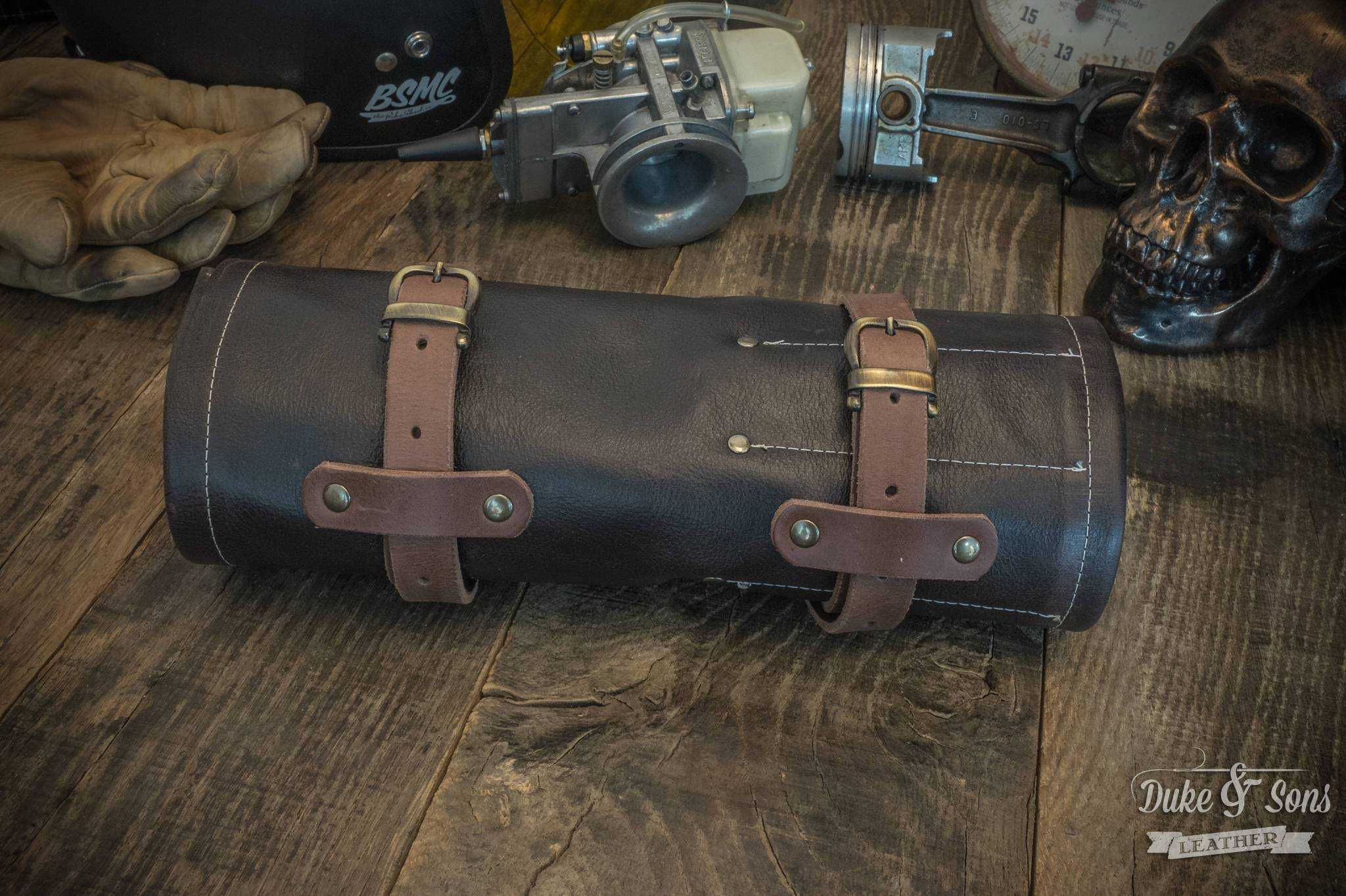 Tool Roll, brown leather, with 2 leather straps. | Duke & Sons Leather