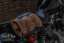 Tool Roll, brown leather, with pocket and 2 leather straps. - Duke & Sons Leather