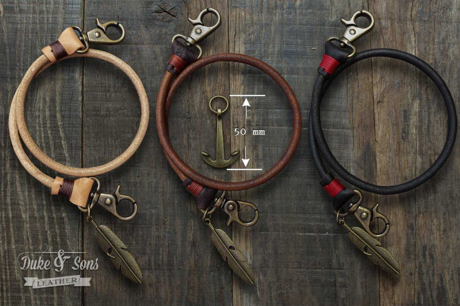 Keychain (Brown) 50 cm, with old bronze feather* | Duke & Sons Leather