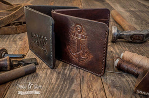 Wallet, bifold (with custom hand tooled image). - Duke & Sons Leather