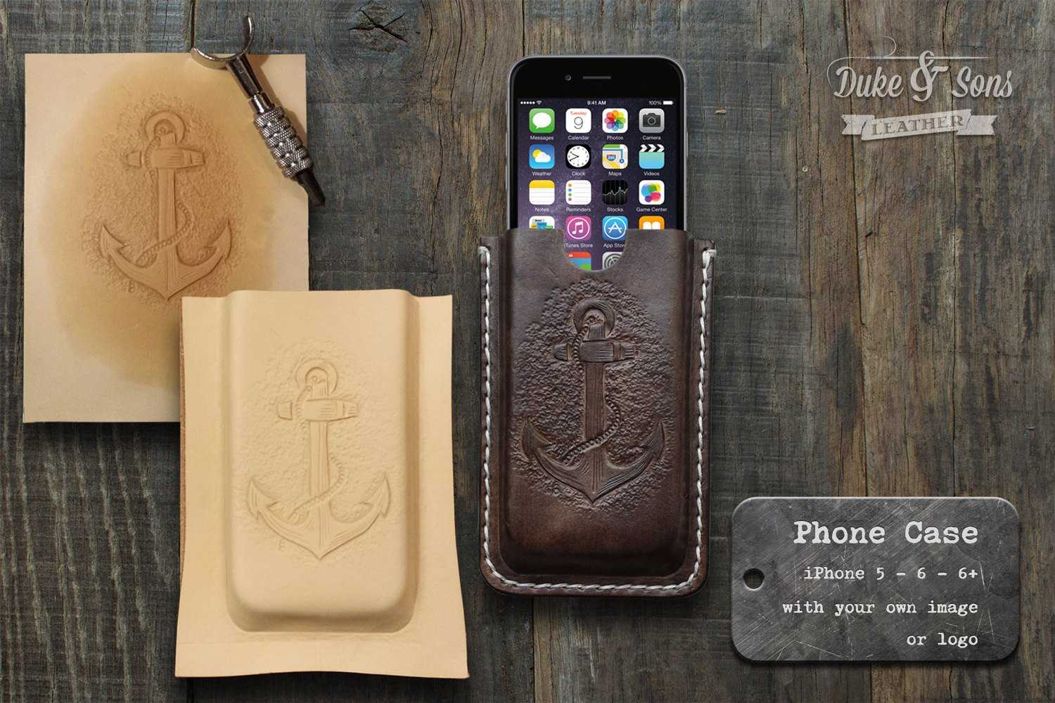 handmade leather iPhone 6 or 6 PLUS case (Custom with your image or logo)