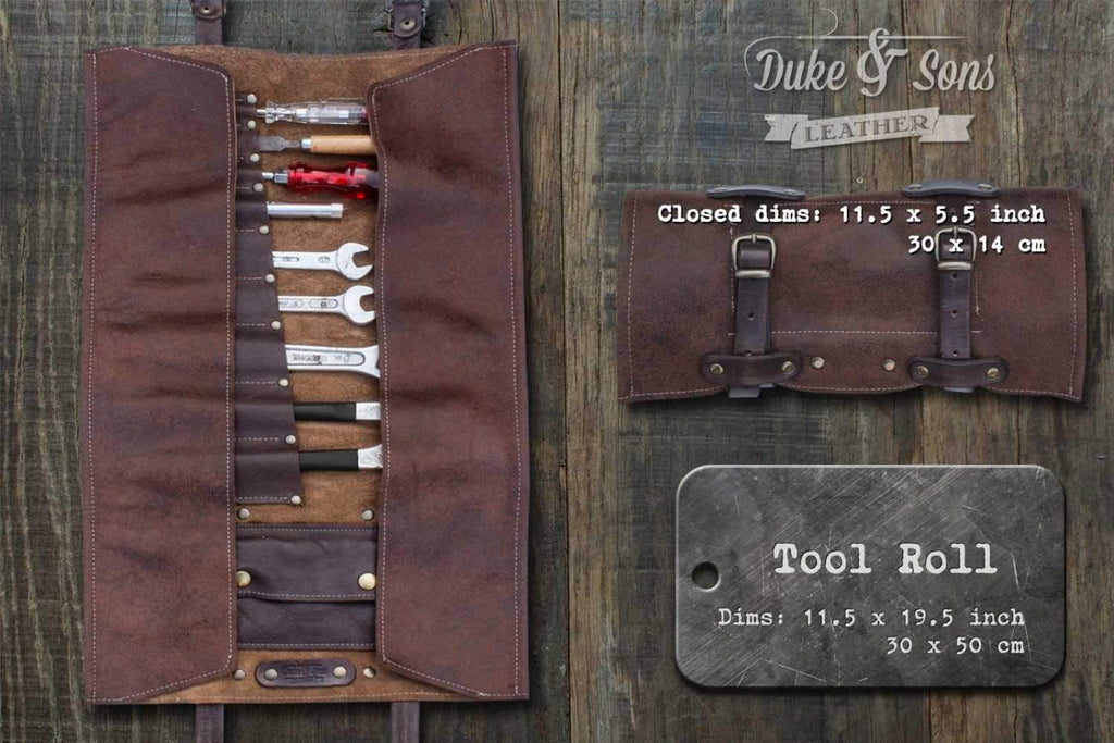 Tool Roll, brown leather, with pocket and 2 leather straps.