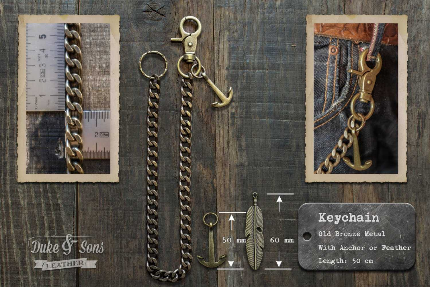 Bronze keychain (50cm) with anchor or feather.