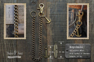 Bronze keychain (50cm) with anchor or feather. - Duke & Sons Leather