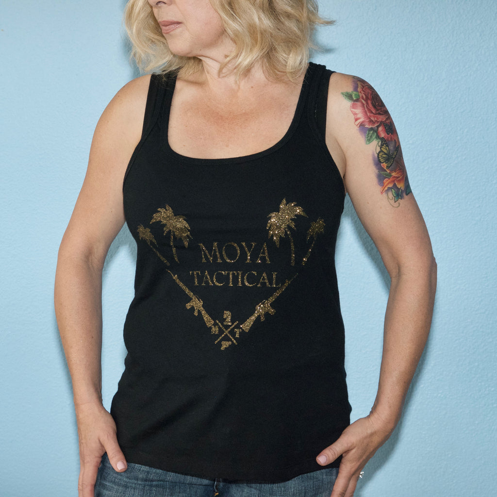 Women's concealed carry tank top palm trees - Moya Tactical Concealed Carry T Shirts