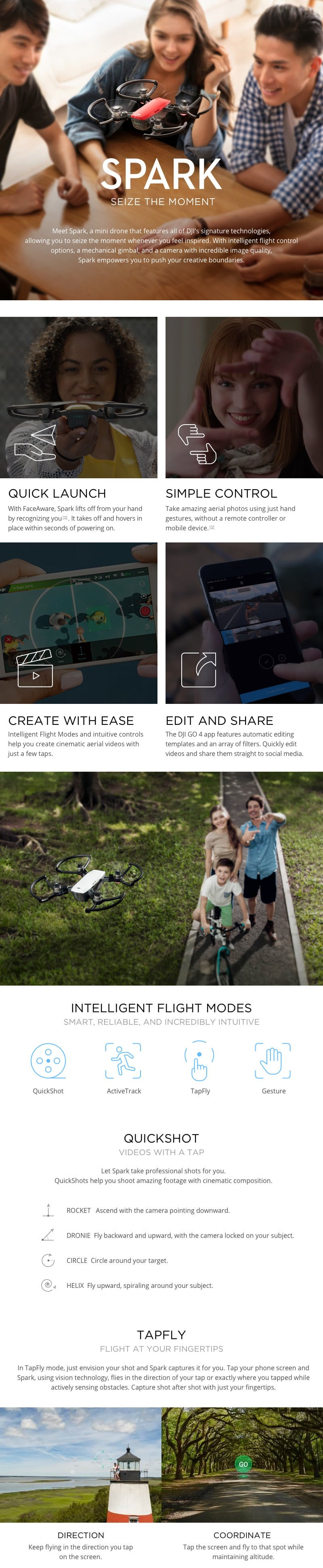Alpine White DJI™ Spark Drone – Refurbished with Full