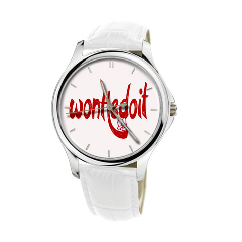 WonHedoit 30 Meters Waterproof Quartz White Genuine Leather Watch