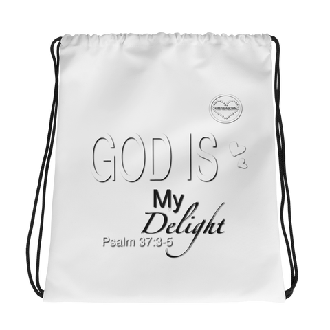 God Is My Delight Drawstring bag