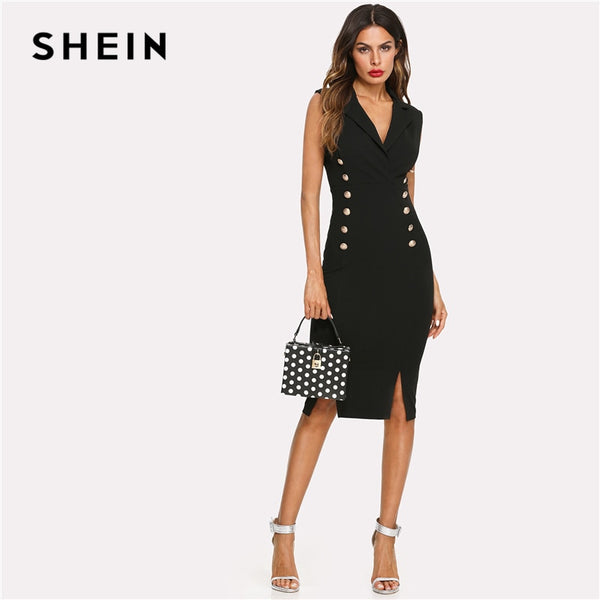 SHEIN Black Elegant Notched V Neck Double Button Sleeveless Pencil Knee-Length Skinny Dress Summer Women Sexy Workwear Dresses
