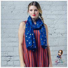 Royal blue scarf with gold foil cat print