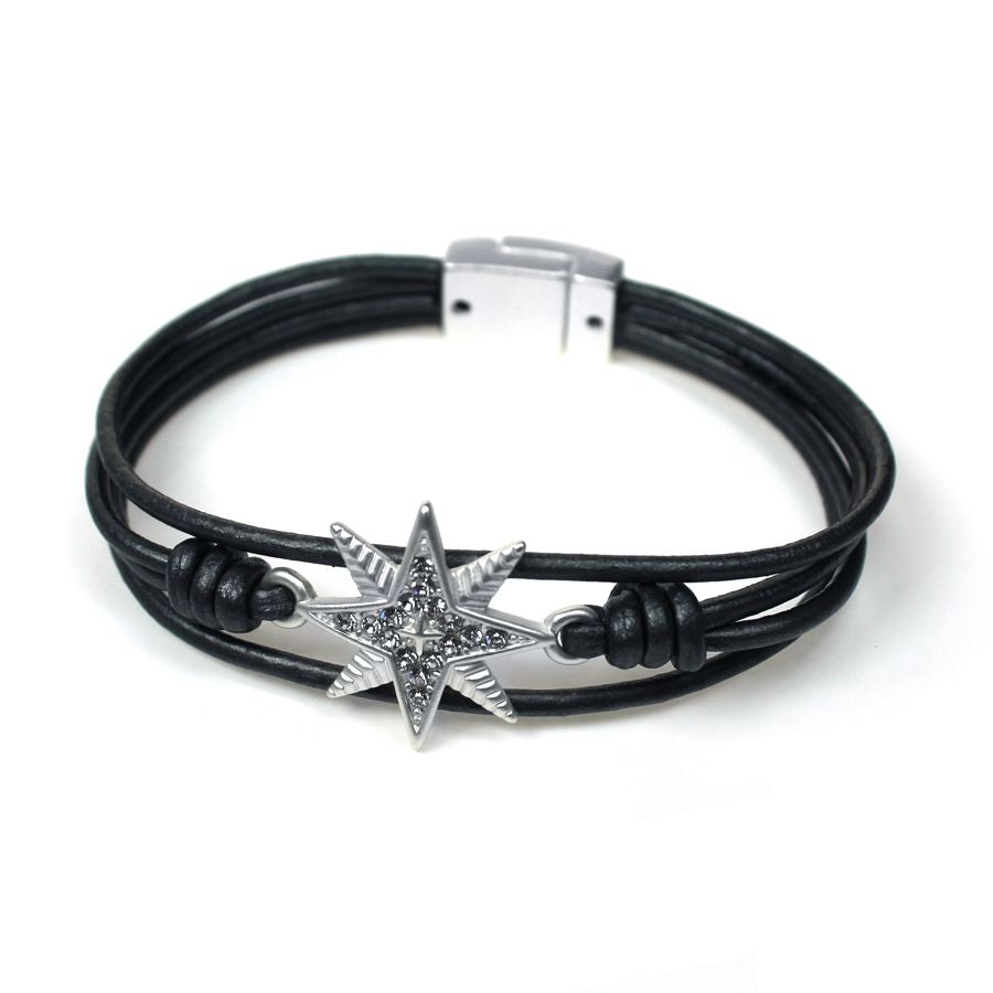 Dark grey leather bracelet with single crystal encrusted textured star