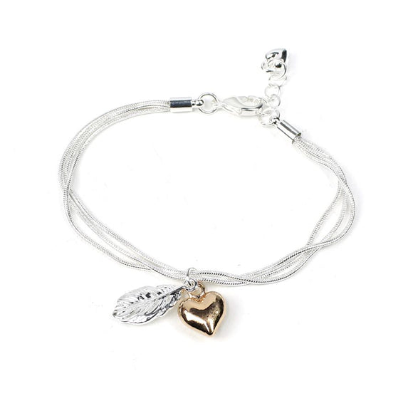 Silver plated triple chain bracelet with a pure silver plated feather and a rose gold plated puff heart