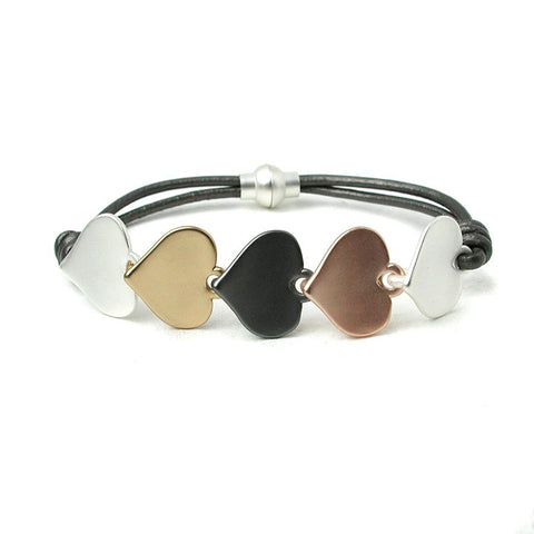 Metallic grey leather bracelet with 5 linked hearts in mixed metal finishes