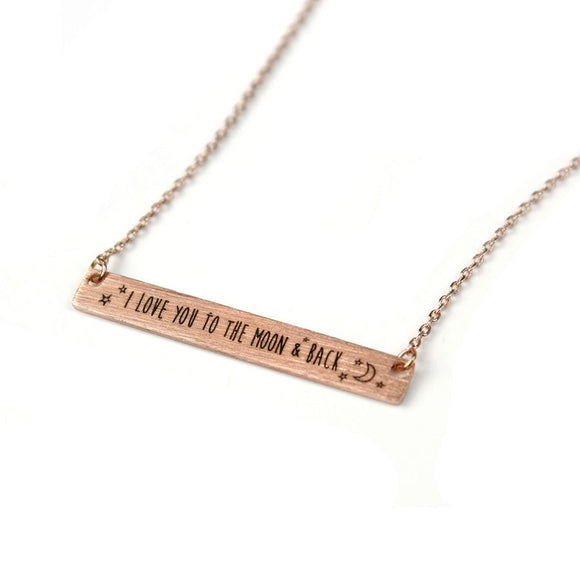 Fine chain necklace in a rose gold style finish with a brushed rose gold plated bar featuring the engraved message 'I love you to the moon and back' and little moon and stars